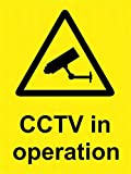 mefoll CCTV Security CCTV in Operation Inside Window Fixing Safety Sign Danger Warning Notice Tin Sign 8x12 by