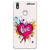 dakanna Funda para [ Bq Aquaris X - X Pro ] de Silicona Flexible, Dibujo Diseño [ Corazón Watercolor con Frase Love ], Color [Fondo Transparente] Carcasa Case Cover de Gel TPU para Smartphone