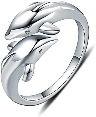 Double Dolphins Ring 925 Sterling Silver Adjustable Open Wrap Thumb Finger Band Promise Rings product image