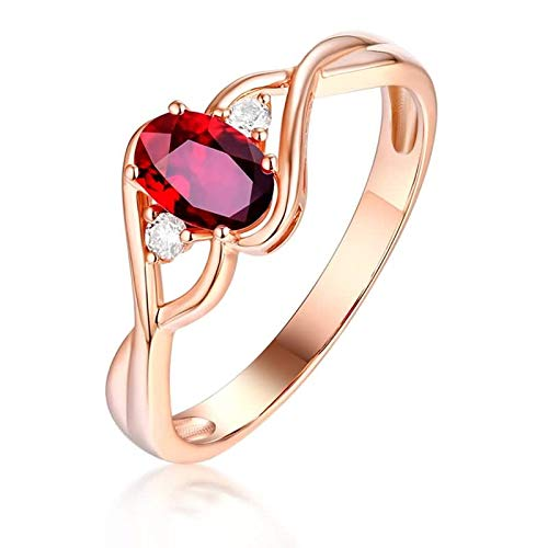 Daesar 18ct Yellow Gold Eternity Ring 0.5ct Red Infinity Ruby Oval Shape Diamond Rings Vintage Wedding Band Rose Gold Ring Size 7.5