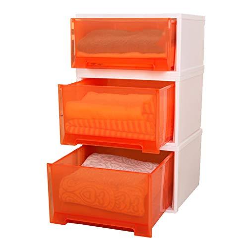 Armoires de Rangement boîte de Rangement, de Rangement à tiroir de Rangement pour vêtements Boîte de Rangement en Plastique à la Mode (Color : Orange)