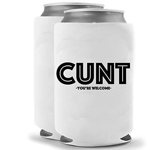 Cunt | Set of Two (2) | Can Coolers | Naughty Inappropriate Crude Funny - Coolies | Huggies Hugger | Insulated Beverage Holder for Parties Pranks Jokes (Cunt)