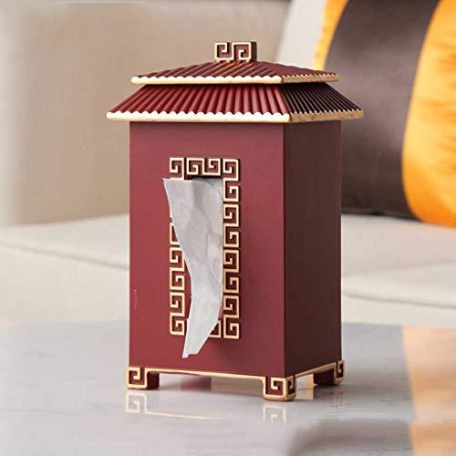 KDEKIFN Caja de Papel de Escritorio de Estilo Chino Elegante Ligero con Textura Clara Retro casero Caja de Papel Creativo Pintura de Oro (Color : Red)