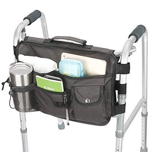 Double Sided Walker Bag, Walker Organizer Pouch Tote for Rollator and Folding Walker (Black)