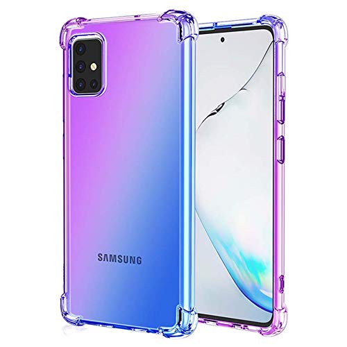 Leychan for Galaxy A51 Case, Slim Flexible TPU for Girls Women Airbag Bumper Shock Absorption Rubber Soft Silicone Case Cover Fit for Samsung Galaxy A51 (Purple Blue)