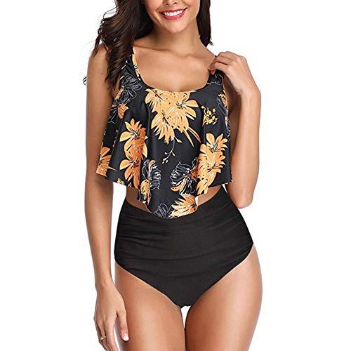 Ankoyion Frauen Bademode Bikini Sexy Retro Rüschen Bikini Set Floral Print Tankini Push Up Badeanzug Mujer Bade anzug8-XL