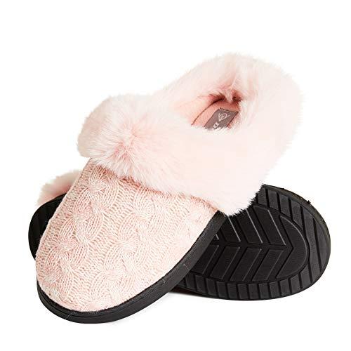 Dunlop Zapatillas Mujer, Zapatillas Casa Mujer con Forro Polar, Pantuflas Mujer Suela de Goma Antideslizante, Regalos para Mujer y Adolescentes Talla 36-41 (Rosa, Numeric_39)