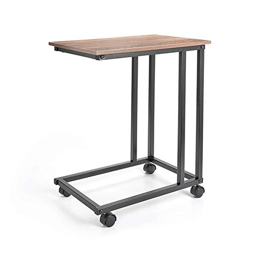 Overbed Table Mobile Snack Table for Coffee Laptop Tablet Sofa Couch Side Table with 4 Wheels Wood Look Accent Furniture with Metal Frame Coffee Tables (Color : Brown Black)