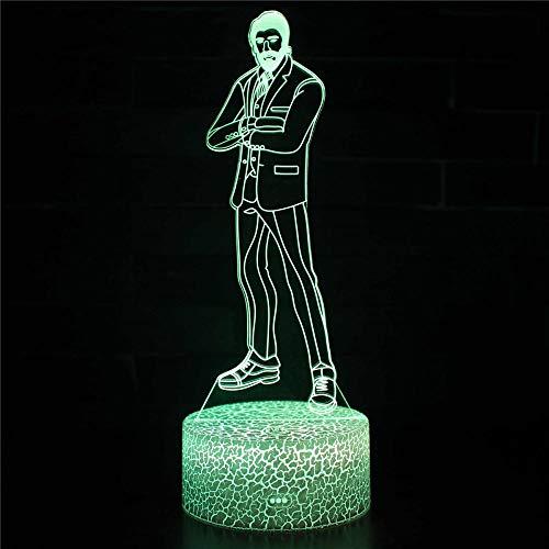 Cartoon-Charaktere, 3D-Illusion, Geburtstagsgeschenk, Tischlampe mit Abbase und Acryl-Lichtbrett, 3D-USB-Schlafzimmerlampe