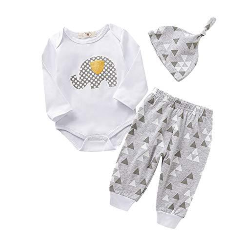 BUKINIE Liquidation Ensemble de vêtements de bébé pour bébé Body imprimé Barboteuse à imprimé éléphant Cartoon + Pantalon Long + Chapeau Tenue 3 pièces(Gris,3-6 Mois