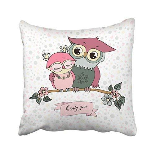 Funda de almohada decorativa para el hogar, 20 x 20 cm, dos lindos búhos enamorados en blanco con corazones flores y guisantes, fundas de cojín, 50 x 50 cm, cuadradas decorativas para sofá, accesorio para el hogar
