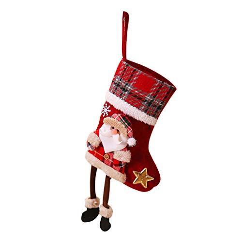 EVA Schmuck Nikolausstrumpf,Weihnachtsstrumpf Baumwolle und Leinen Öffnung mit weihnachtlicher Stickerei für Weihnachtsbaum Kaminwand Dekorationen