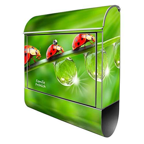 Banjado Design Briefkasten personalisiert mit Motiv Für Jeden Einen | Stahl pulverbeschichtet mit Zeitungsrolle | Größe 39x47x14cm, 2 Schlüssel, A4 Einwurf, inkl. Montagematerial