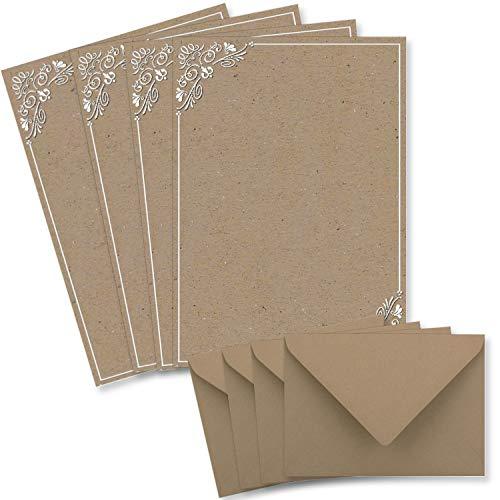 25 Briefbogen-Sets DIN A4 - Briefpapier in Kraftpapier-print mit weißem Ornament - mit Briefumschlägen DIN C6 in taupe Briefpapier bedruckbar ideal für Hochzeitseinladungen