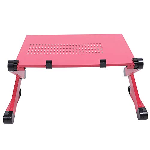Gedourain Mesa de Cama, aleación de Aluminio portátil del Escritorio cómodo del Cuaderno para el Dormitorio para la Oficina(Rosa roja)