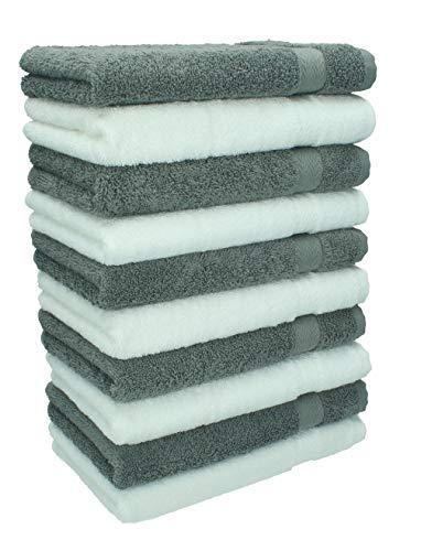 Betz Lot de 10 Serviettes débarbouillettes lavettes Taille 30x30 cm en 100% Coton Premium Couleur Blanc et Gris Anthracite