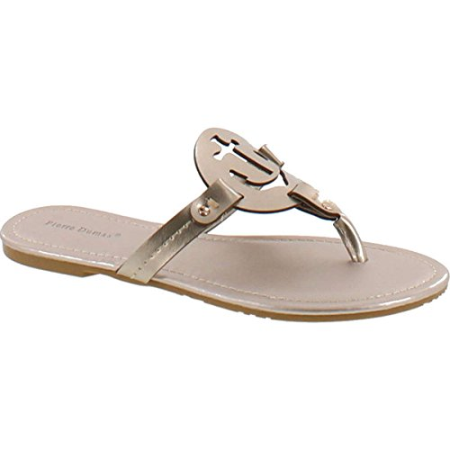 Pierre Dumas Women's Lily Ornament Synthetic Sandals,Gold,11