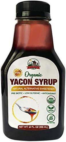 Yacon Syrup USDA Organic 100 Pure Natural Sweetener Plant based Sugar Substitute 12 Fl Oz 480 product image