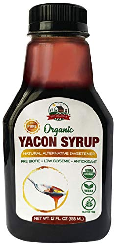 Yacon Syrup - USDA Organic | 100% Pure Natural Sweetener - Plant based Sugar Substitute - 12 Fl Oz. - (480 Grams )