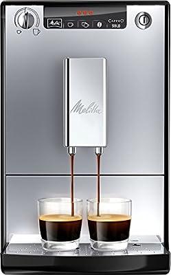 Melitta SOLO E950-103, Compact Bean to Cup Coffee Machine for Home or Office, Automatic Cappuccino Maker, Silver/Black