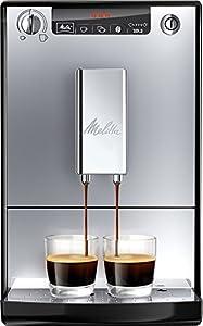 Melitta Caffeo Solo E950-103 Cafetera Superautomática con Molinillo, 15 Bares, Café en Grano para Espresso, Limpieza Automática, Personalizable, Plata