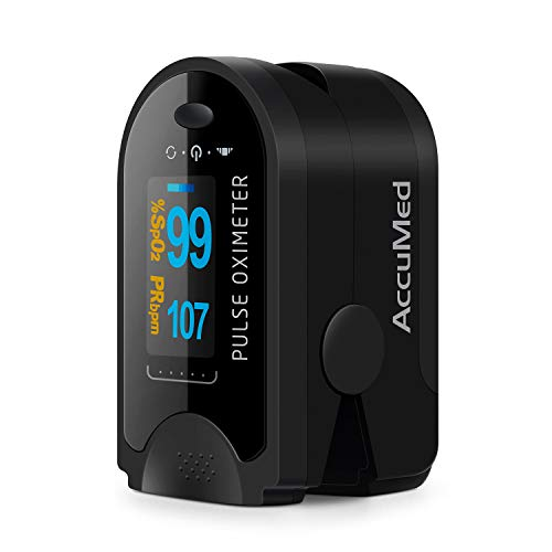 AccuMed CMS-50D Fingertip Pulse Oximeter Blood Oxygen Sensor SpO2 for Sports and Aviation. Portable and Lightweight with LED Display, 2 AAA Batteries, Lanyard and Travel Case (Black)