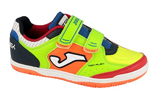 Joma Top Flex Jr, Scarpe da Calcetto Unisex – Bambini, Verde (Fluor-Orange-Navy), 32 EU