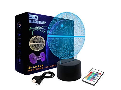 Lámpara Illusion 3D Led Star Wars | 3 patrones: Death Star, Millenium Falcon y TIE Fighter | 16 colores / 4 modalidades elegibles | Ideal para jóvenes y adultos amantes de Star Wars