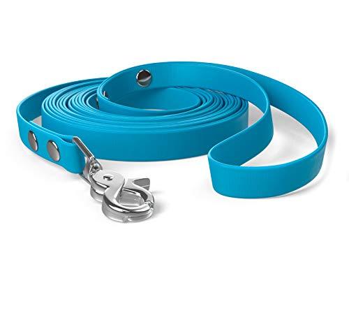 SNOOT 5m Schleppleine, Hundeleine, Handschlaufe, Cyan-Blau, sehr stabil, schmutz- und wasserabweisend