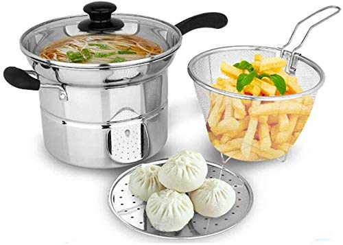 Pan 22 cm multifunctionele roestvrijstalen pan kookpan braadpan pasta-feest stoompan eenhands stoompan milk kleine enkel onderstel set