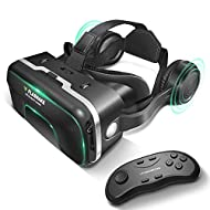 """VR Headset Virtual Reality Headset with Remote Controller, FLASNAKE 3D VR Glasses VR Goggles for 3D Movies & VR Games with Stereo Headphone, Adjustable Lenses & Headstraps - Compatible with 4.7""""-6.0"""""""