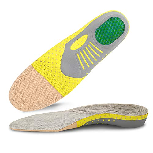 Shoe Insoles, Kimfly Arch Supports Plantar Fasciitis Feet Insoles Orthotics Inserts for Flat Feet, Arch, Pronation, Heel Spurs & Foot Pain, L, Grey