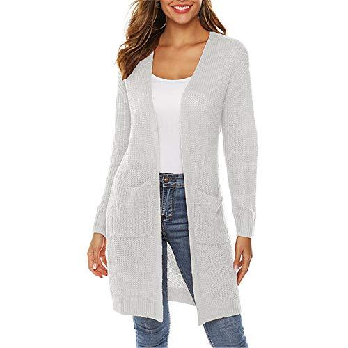x8jdieu3 Einfarbige Strickjacke mit großer Tasche für Herbst- und Wintermodelle. Mittellange Mantelbluse