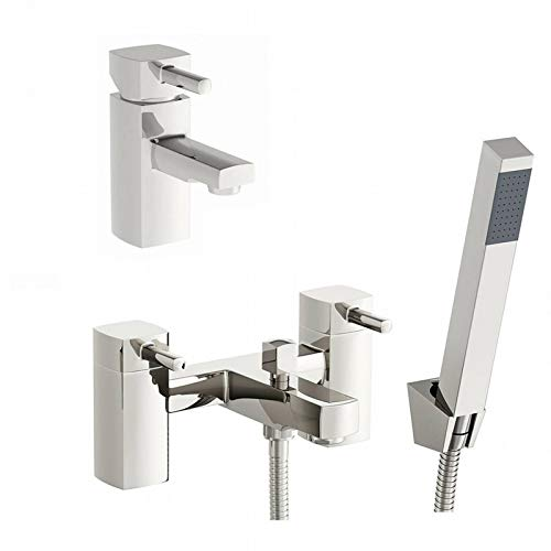 ENKI Miscelatore per lavabo rubinetto vasca bagno con doccetta squadrato DESIRE