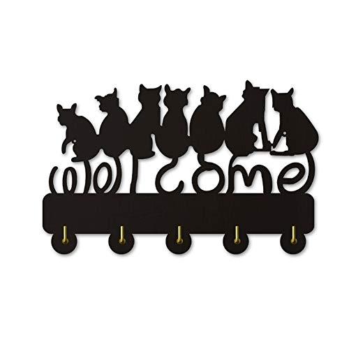 Silueta de Gato Negro Colgador de Pared de Madera Decorativo/Perchero/Gancho para Ropa/Gancho de Pared decoración Moderna para el hogar Pegatinas de Pared, Negro (Largo: 30cm)