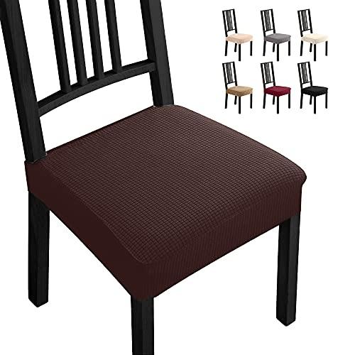 Fundas para sillas Pack de 4 Fundas sillas Comedor Fundas elásticas,Fundas de Asiento para Silla,Diseño Jacquard Cubiertas de la sillas,Extraíbles y Lavables-Decor Restaurante(Paquete de 4,Marrón)-B 🔥