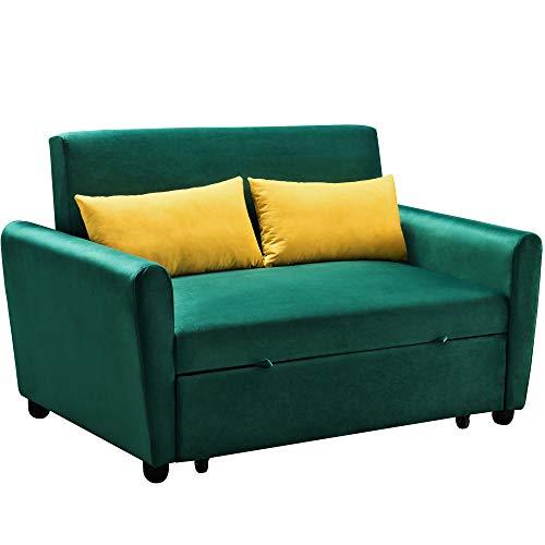 Merax Sleeper Couch, Small Velvet Sofa for Living Room or Bedroom,...