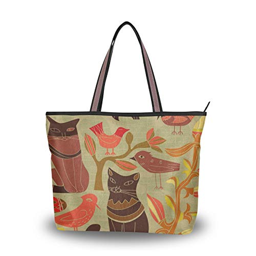 Light Weight Strap Cat And Bird Art Tote Bag for Women Girls Ladies Student Shoulder Bags Purse Shopping Handbags