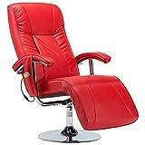 vidaXL - Sillón de masaje con calefacción eléctrica, sillón de relax, sillón de televisión, sillón de descanso, sillón de relax, piel sintética, color rojo