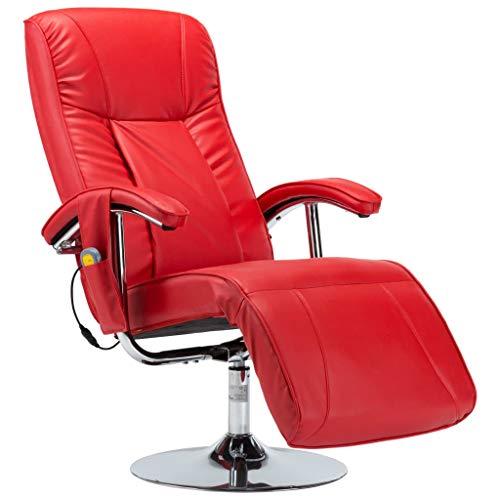 vidaXL Massagesessel mit Massage Heizung Elektrisch Relaxsessel Fernsehsessel TV Sessel Ruhesessel Liegesessel Relaxliege Rot Kunstleder