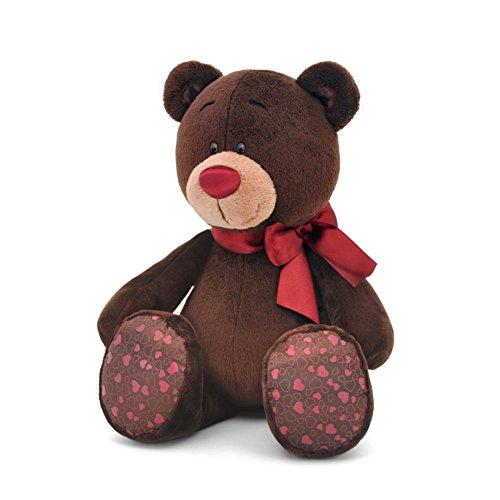 Orange Toys 1/004/20 – Ours Choco Assis Peluche pour Adultes et Enfants dans Emballage Cadeau, 20 cm, Marron/Rouge
