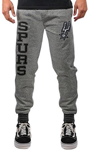 Unk NBA Men's VFM3377F NBA Fleece Poly Varsity Stripe Rib Jogger Pants, Black Marled, X-Large