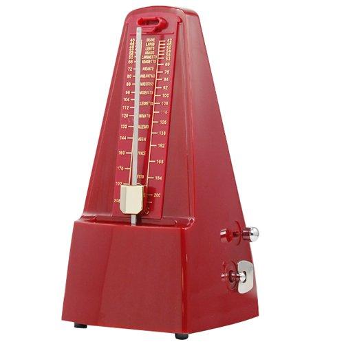 Accessotech Rode Elegante Piramide Metronoom Tempo voor Muzikanten Piano Gitaar Wind-Up Klok