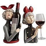 Botelleros Estante De Vino Creativo con Soporte para Copa De Vino, 1 Botella Y 1 Vaso,Estante del Vino Casero De La Decoración Regalo para Mujer Set De 2