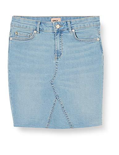 Only Onlfan Skirt Raw Edge BB Crf5012 Gonna, Denim Blu Chiaro, XL Donna