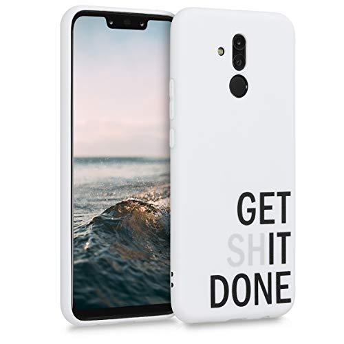 kwmobile Funda Compatible con Huawei Mate 20 Lite - Carcasa de TPU Get it Done en Negro/Gris Claro/Blanco