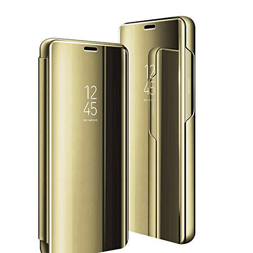 Funda para Galaxy S9, para Samsung Galaxy S9, funda de teléfono móvil, espejo transparente, función atril, 360 grados, antigolpes, antiarañazos, Flip Slim para Samsung S9, color azul (S9, dorado)
