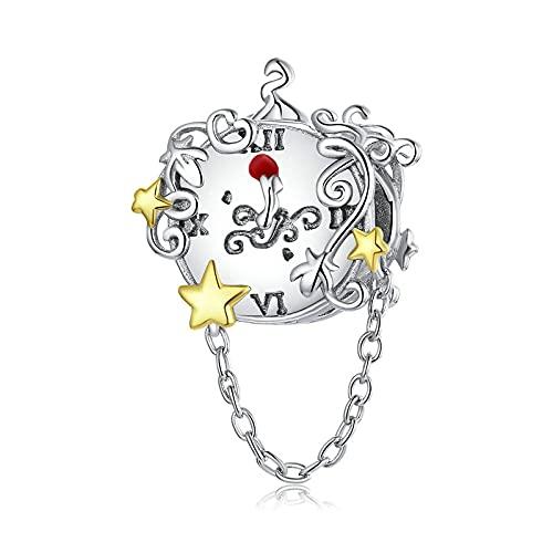 LIJIAN DIY 925 Sterling Jewelry Charm Beads Reloj Mágico Twinkle Star Colgante De Cadena Haga Originales Pandora Collares Pulseras Y Tobilleras Regalos para Mujeres