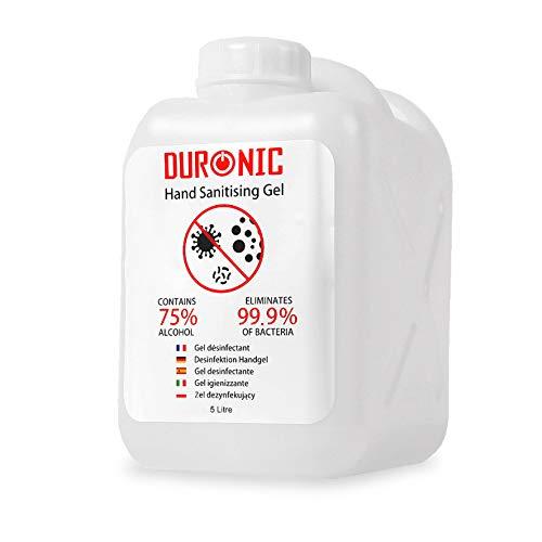 Duronic S5000ML Gel desinfectante de manos bote de 5000 ml - Formato grande 5 litro - 75% de alcohol - Mata hasta el 99,9% de las bacterias – Gel antibacterias de secado rápido sin olor