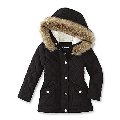 Me Jane Kids Girls' Quilted Hooded Jacket (Black)